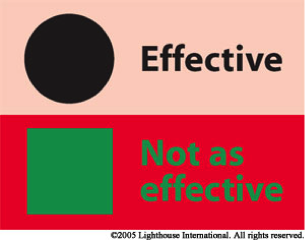 This photo shows effective and less effective color contrast options.