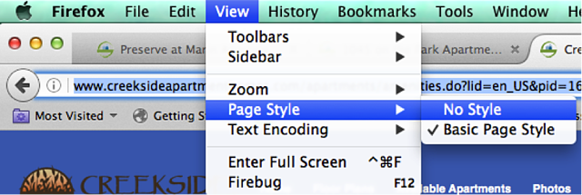 This photo displays how to turn off page style in a website window.